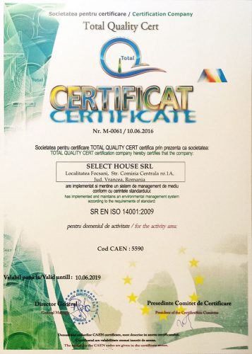 Cazare Focsani: Certificare ISO 14001:2009 Pensiunea Oscar