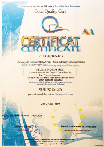 Cazare Focsani: Certificare Pensiunea Oscar ISO 9001:2008