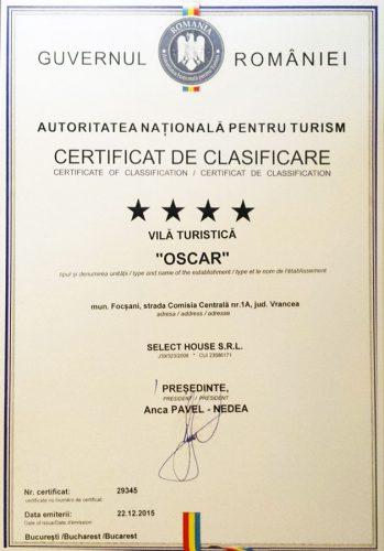 Cazare Focsani: Certificare 4 stele Pensiunea Oscar